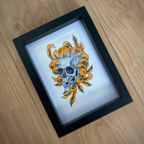 Image of A6 SKULL/CHRYSANTHEMUM - *ORIGINAL*