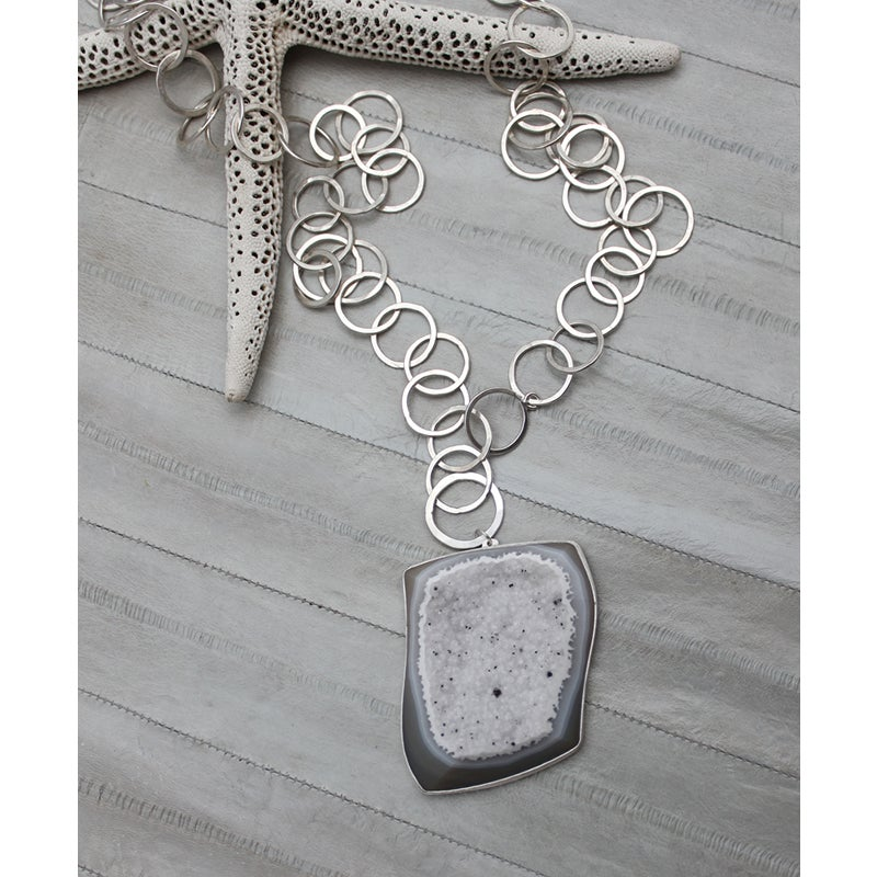 Image of Chain Necklace with Center Stone