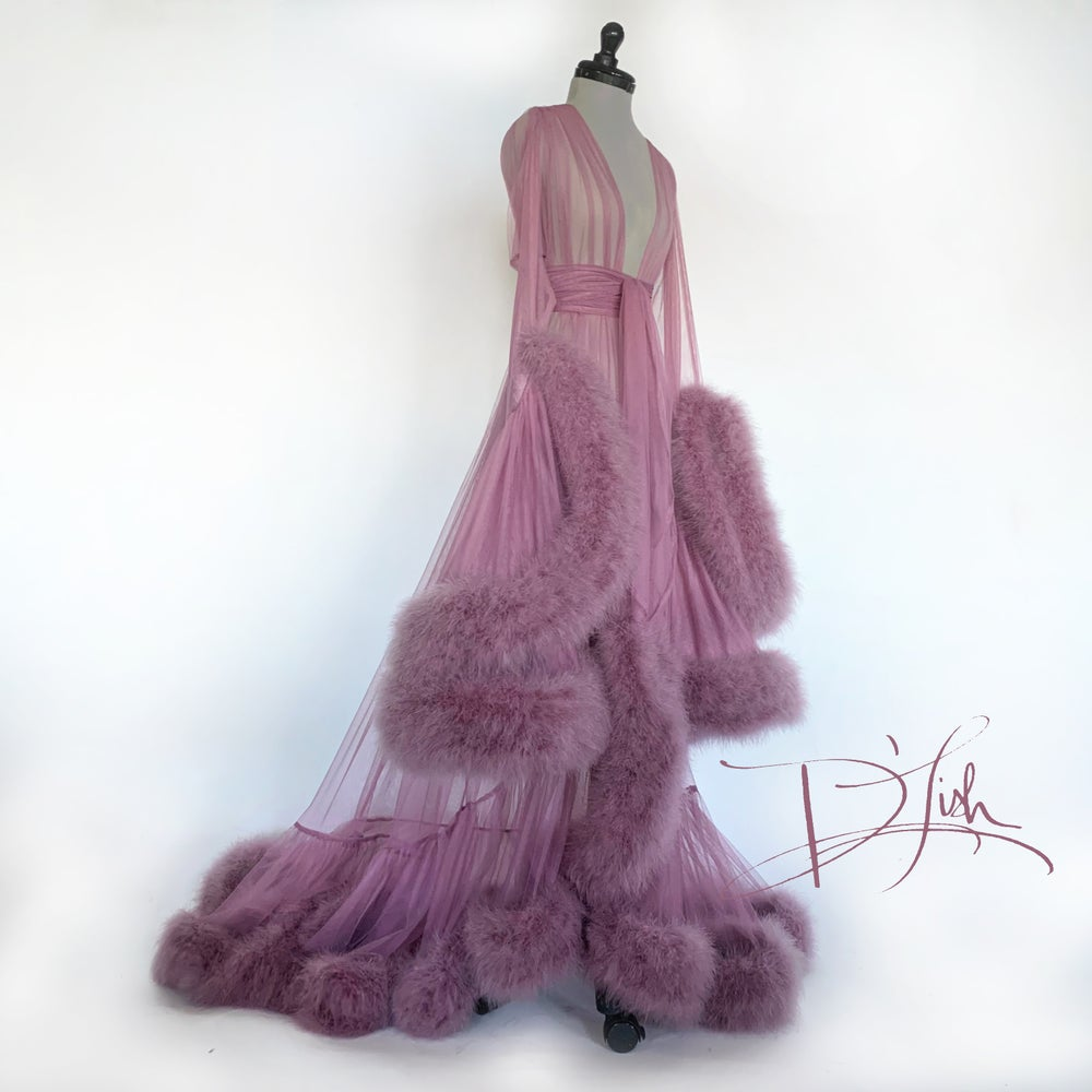 "Image of Mauve Deluxe ""Cassandra"" Dressing Gown"