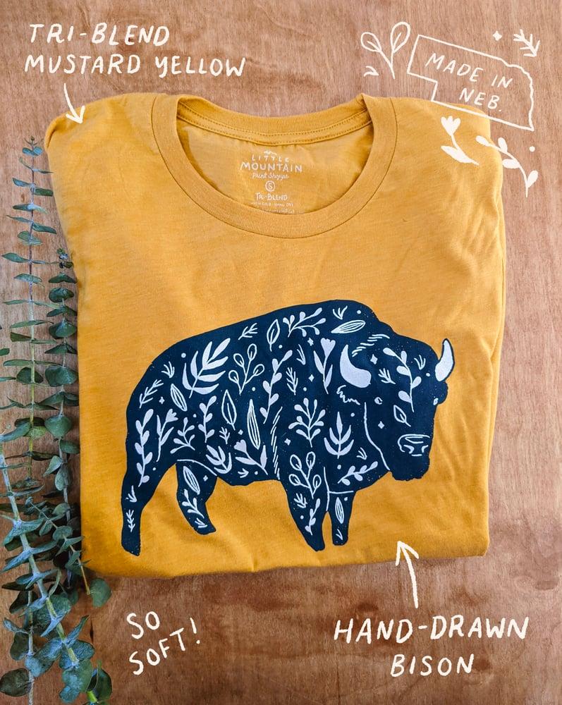Image of Mustard Floral Bison T-shirt