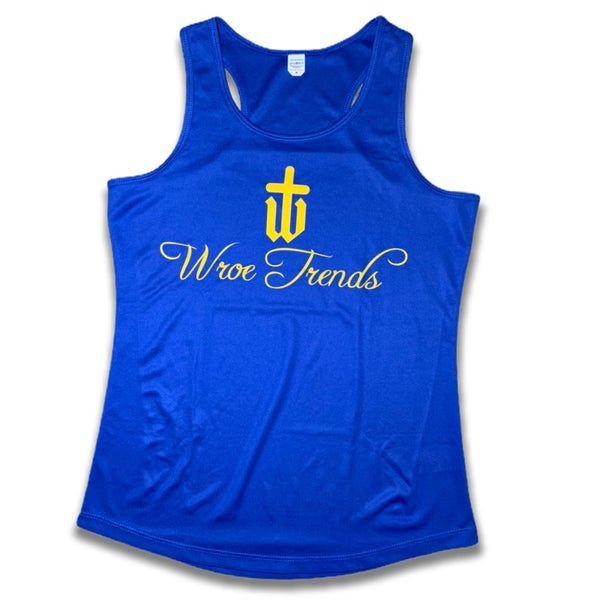 Image of LADIES ROYAL/YELLOW GYM VEST