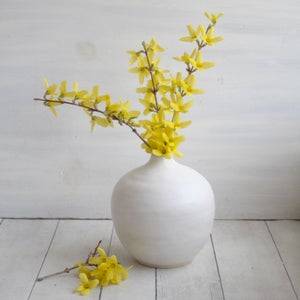 Image of Reserved for Adam - Round Ceramic Vase in Modern White Matte Glaze, Made in USA