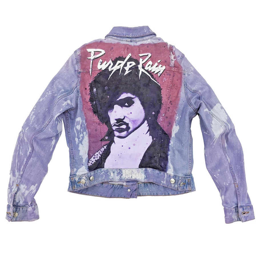 Image of Prince Purple Rain Tribute Customized Women's Denim Jacket