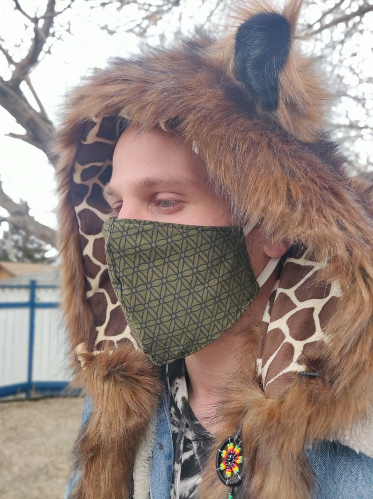 Image of Sacred Geometry Double Cotton Mask Green