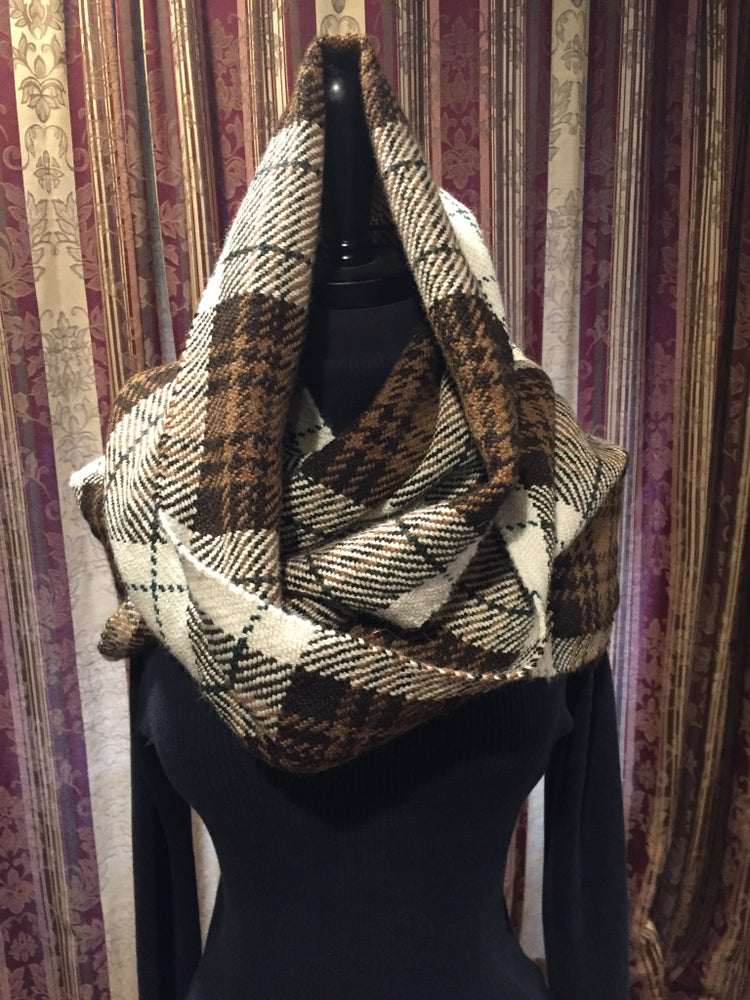 Image of Handwoven (Large) Alpaca Plaid Cowl (#  2016)