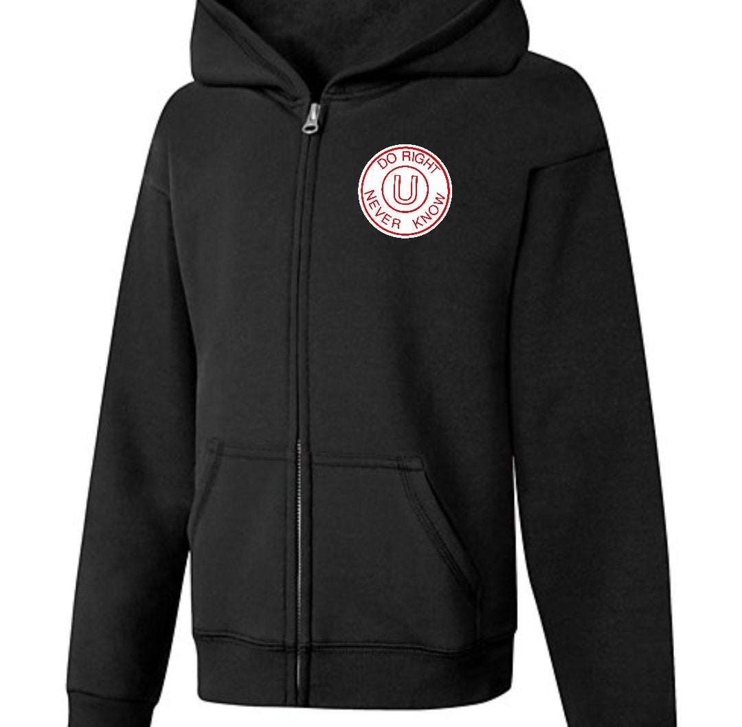 Image of Black Zip Up Hoodie D.R.U.N.K