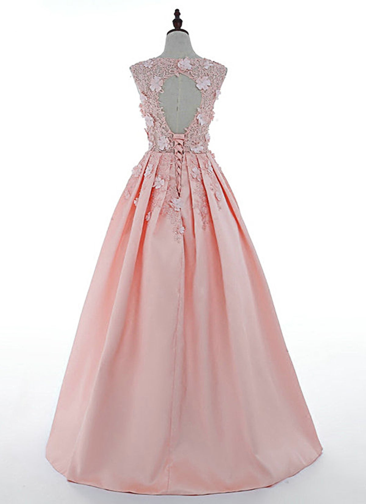 Elegant Pink Satin with Flowers Long Party Dress, Pink Prom Dress