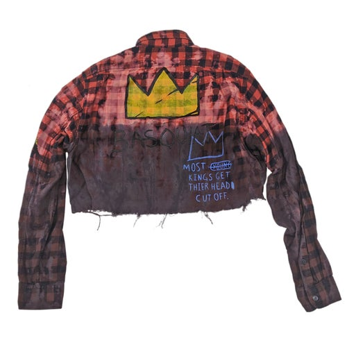 Image of Basquiat Tribute Customized Cropped Flannel Plaid Shirt