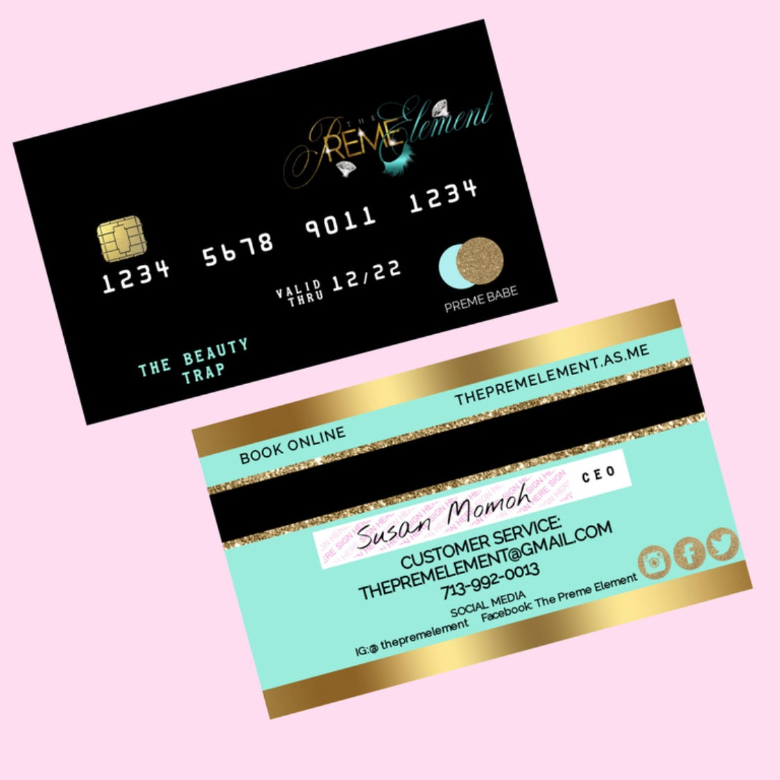 credit card business card  the glam marketing agency