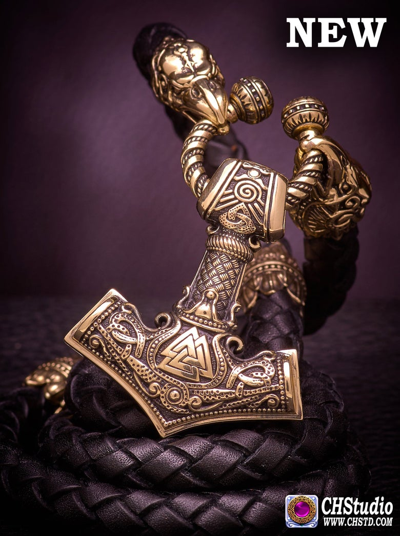 Image of MJOLNIR with Valknut :: Leather Necklace