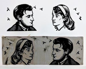 Image of Poetry Print - Ted Hughes and Sylvia Plath
