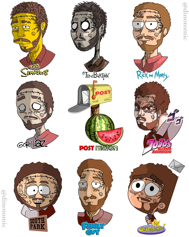 Image of #187 Post Melon in different styles