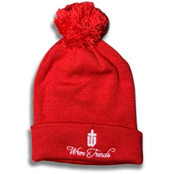 Image of RED BOBBLE HAT