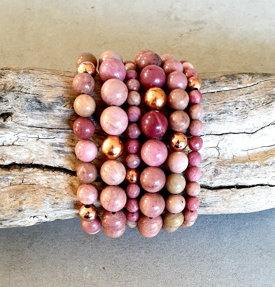 Image of RHODOCHROSITE & COPPER - 6mm Faceted Beads