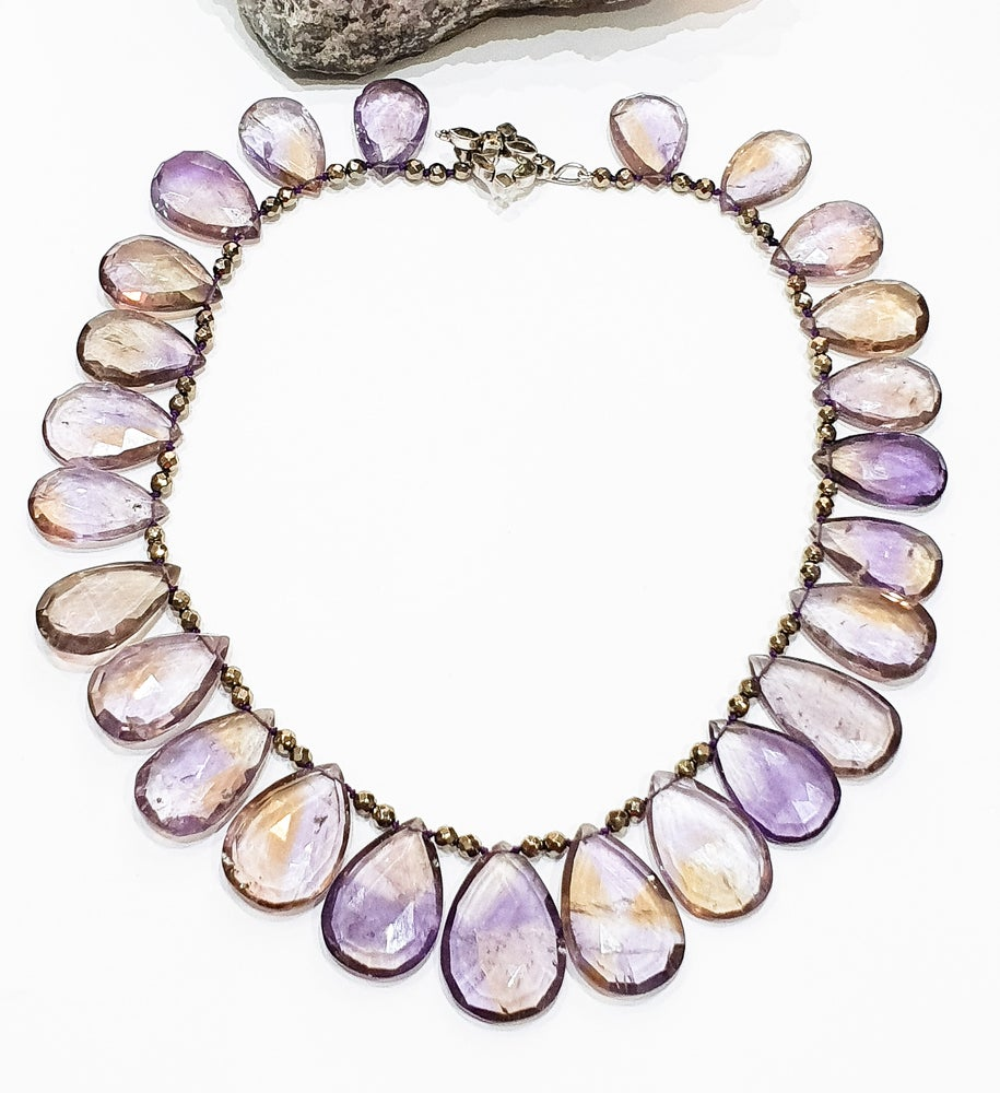 Image of Ametrine and Hematite Necklace on Citrine Clasp