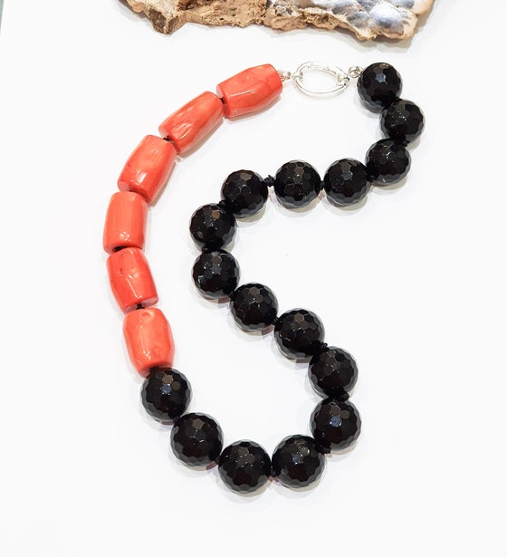 Image of Onyx and Bamboo Coral Necklace