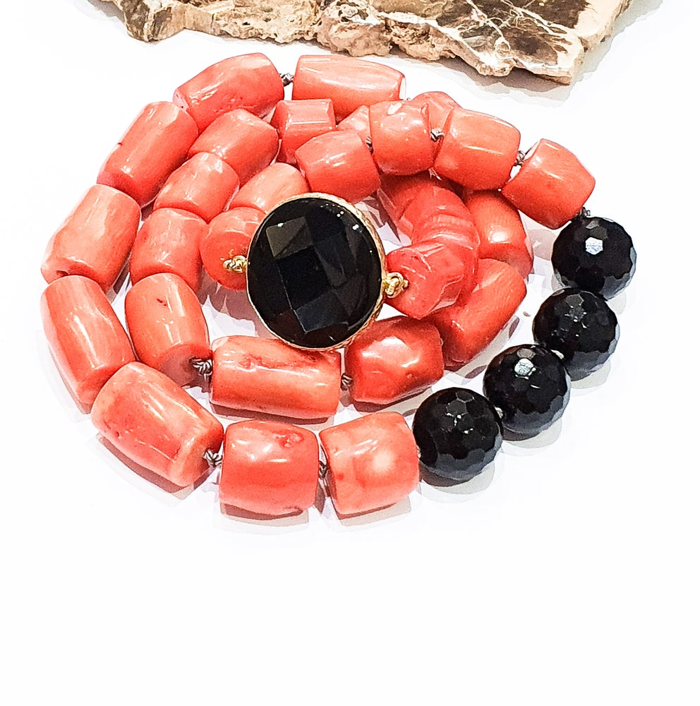 Image of Bamboo Coral and Onyx Necklace