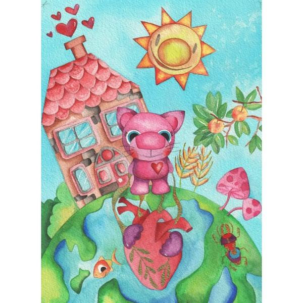 Image of Ilustración infantil de la gata Gominola Original