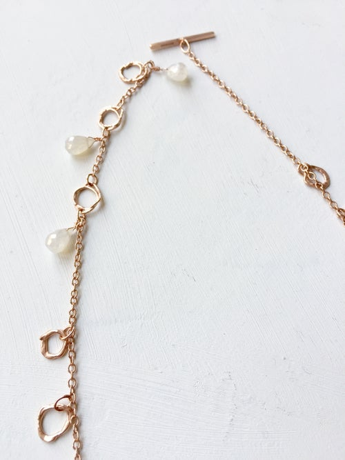 Image of Indian summer necklace rose gold- moonstone