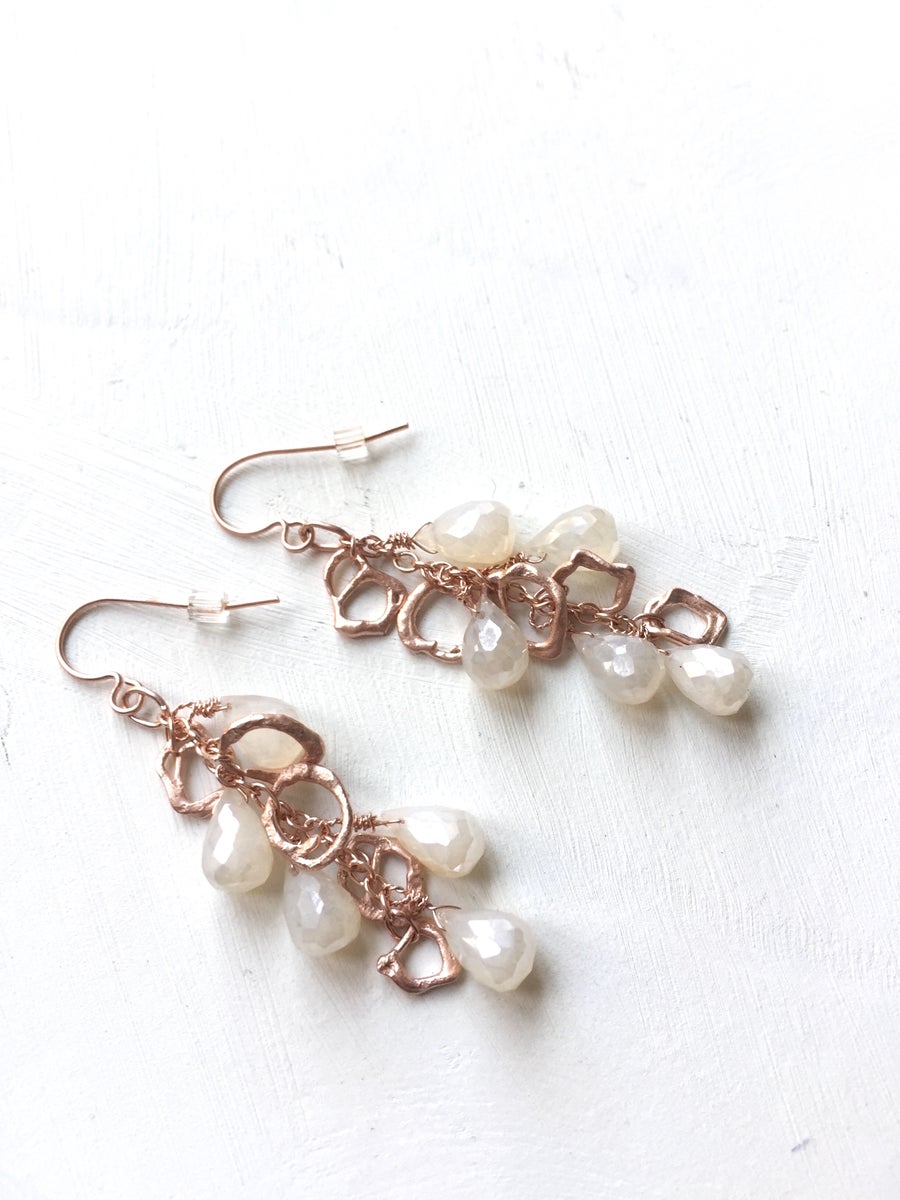 Image of Indian summer rose gold earrings- Moonstone 1-3