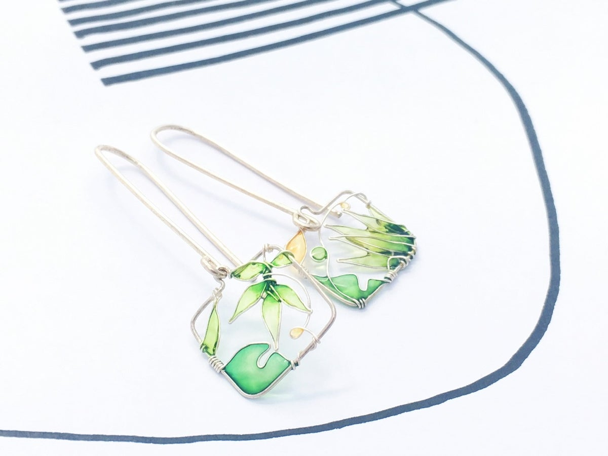 Image of Green Landscapes Silver Earrings