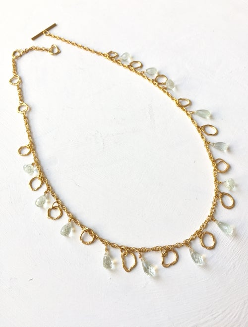 Image of Indian summer necklace yellow gold - Green Amethyst
