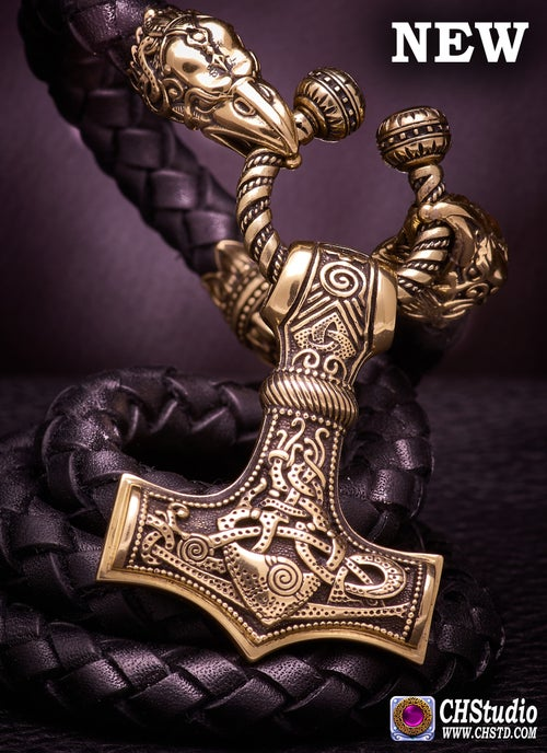 Image of Thor's Hammer : MJOLNIR Leather Necklace (Mammen 2)