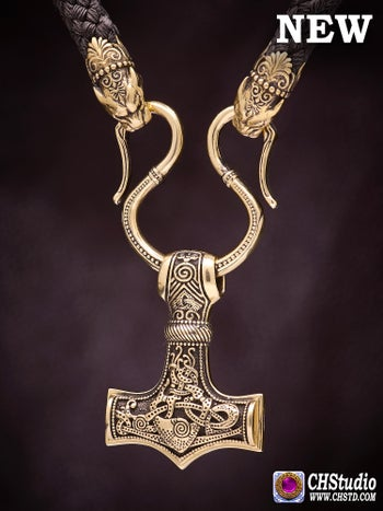Image of Thor's Hammer :: MJOLNIR + Paracord Necklace ( Mammen 2 )