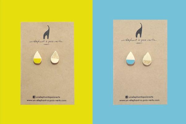 Image of Laisses tomber la pluie - Boucles d'oreilles puces asymétriques en bois