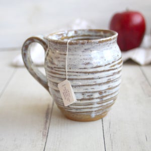 Image of Large Rustic Pottery Mug with Dripping White Glaze, Made in USA Ready to Ship