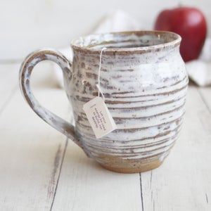 Image of Rustic Brown and White Pottery Mug, 15 oz. Handcrafted Coffee Cup, Made in USA