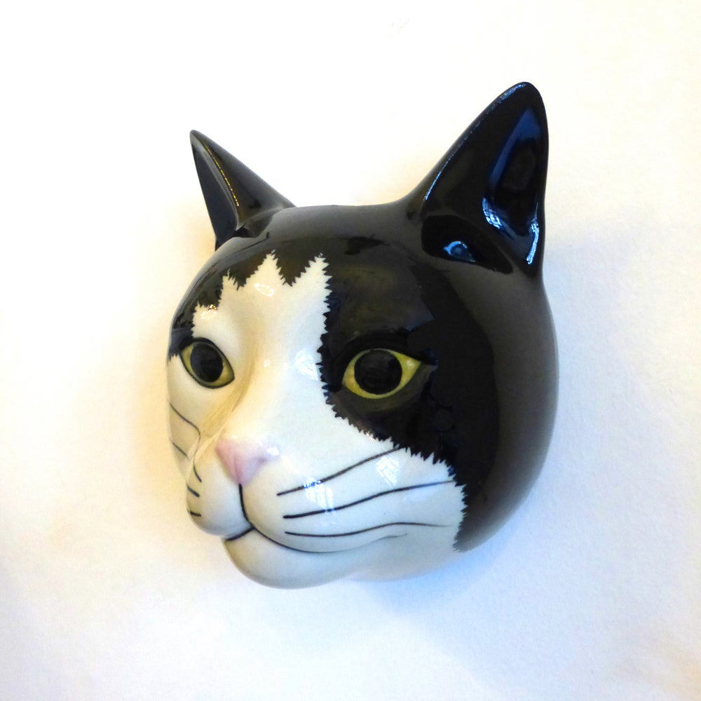 Image of Black & White Cat Wall Vase