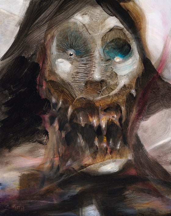 Image of untitled (witch) original oil painting on wood panel