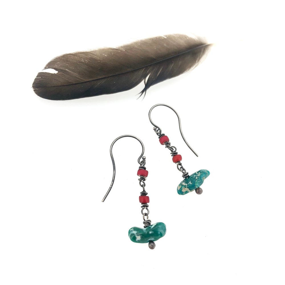 Image of Fox mine turquoise earrings