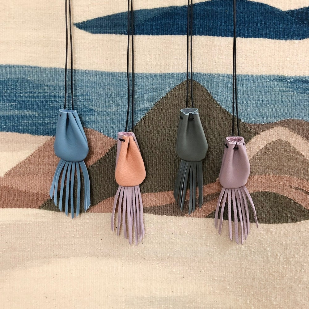 Image of fringe crystal pouch necklace