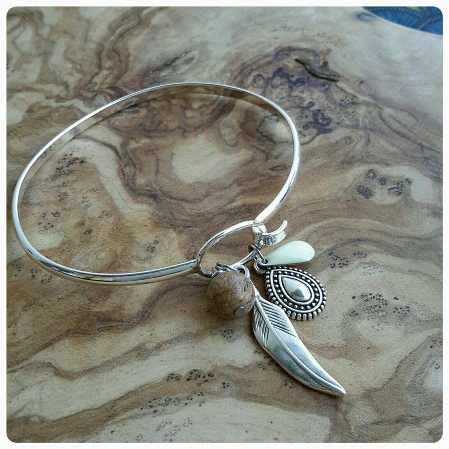 Image of Bracelet Plume Jaspe