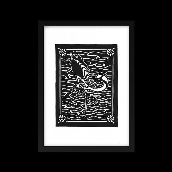 Image of Omens (Crane) Lino Print