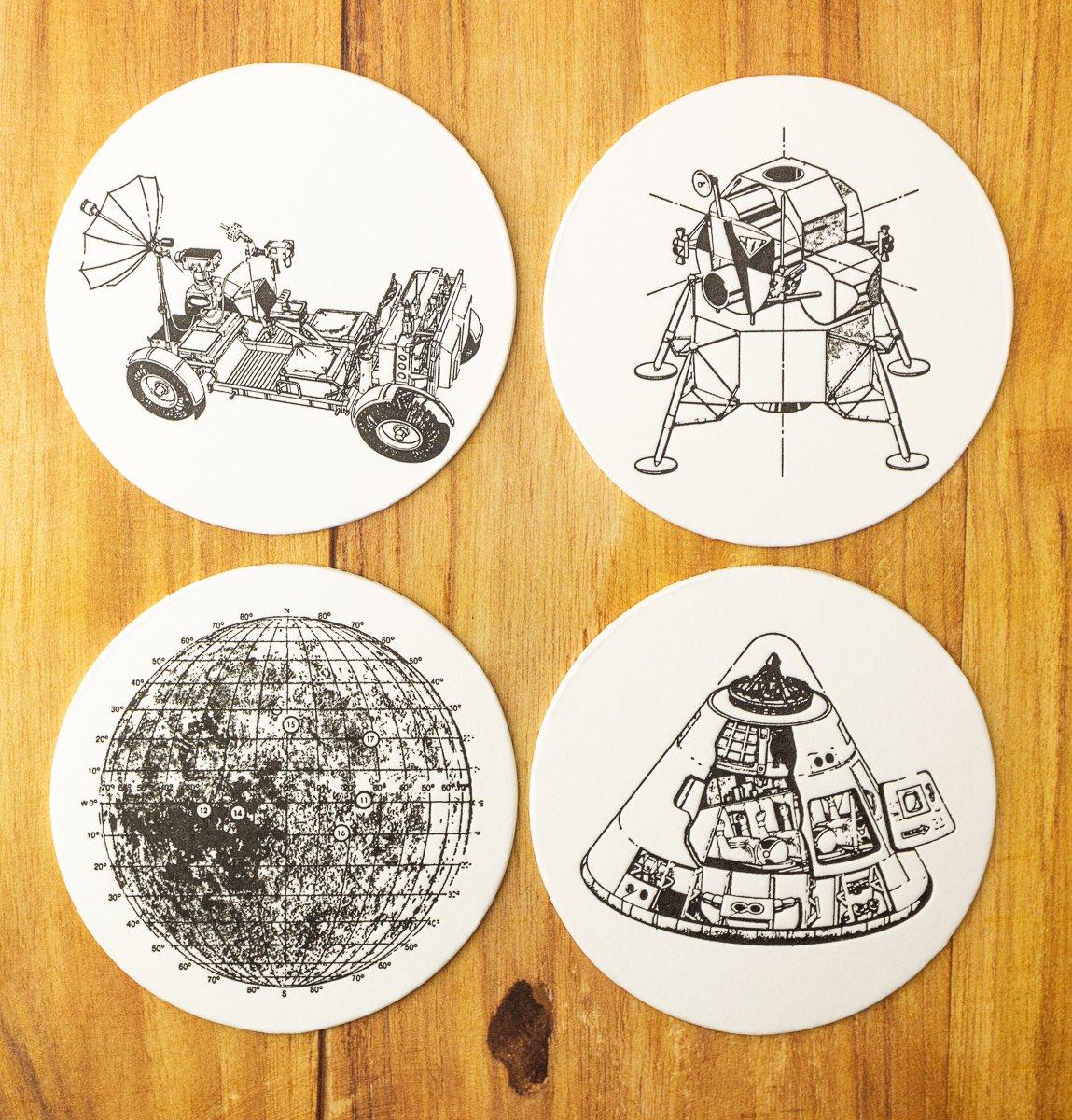 Lunar Landing Letterpress Coasters - Set of 8 (2 of each design)