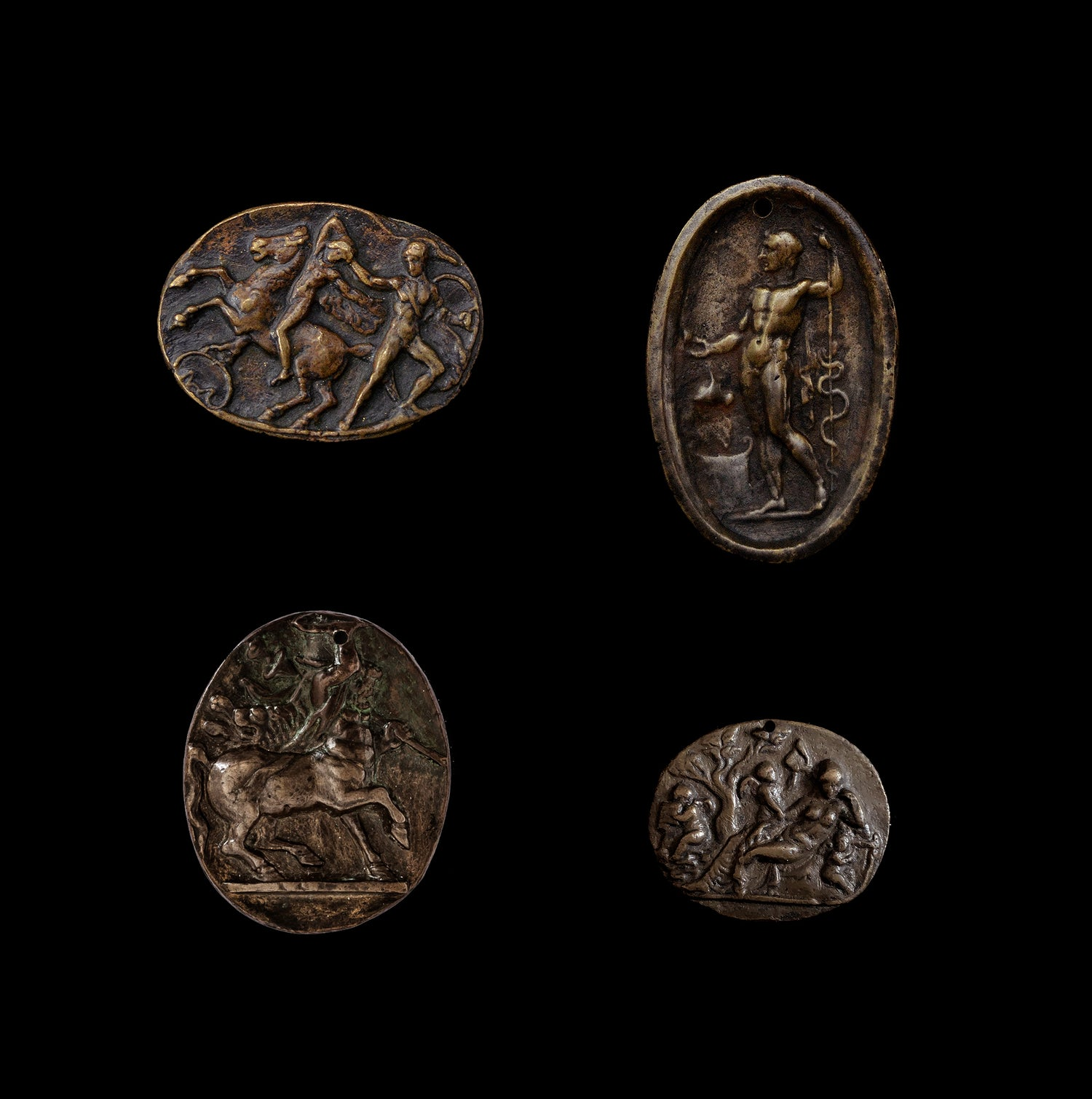 Image of A collection of four 15th century all'antica bronze Italian plaquettes