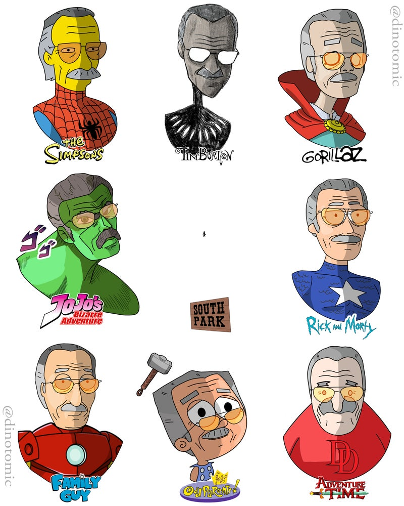 Image of #188 Stan Lee drawn in different styles