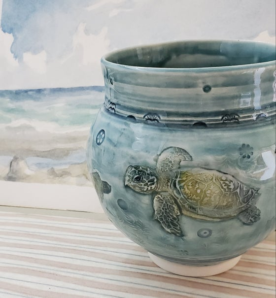 Image of Sea Turtle Porcelain Handpainted Vase