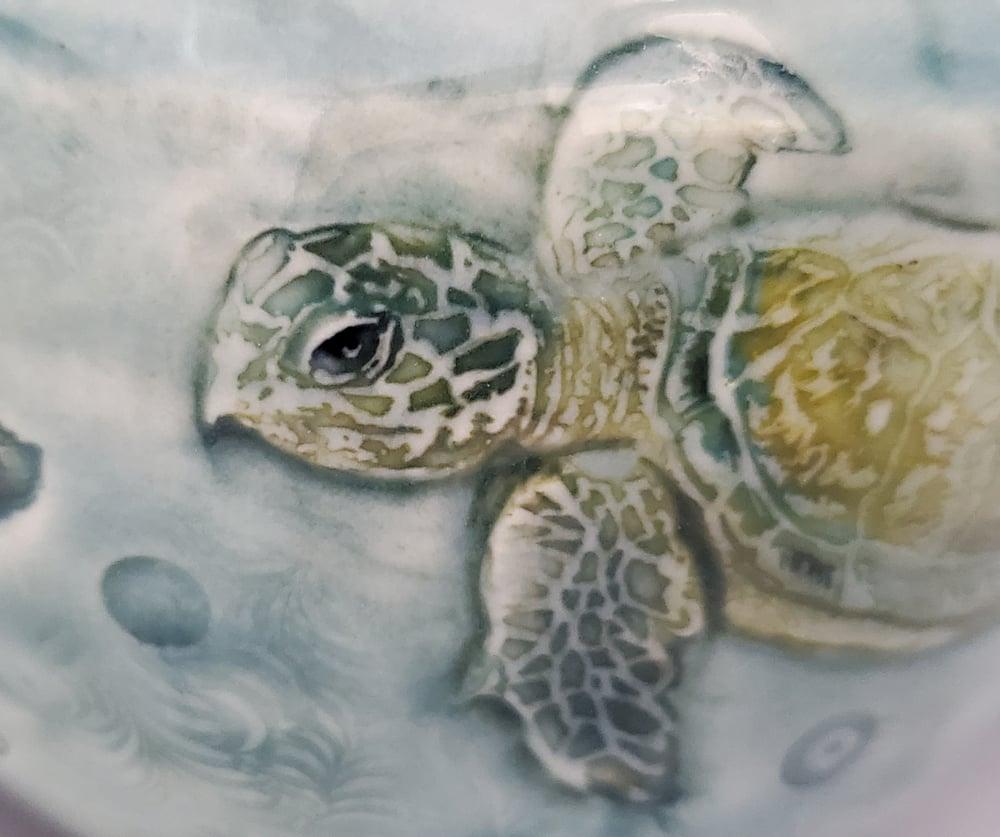 Image of Sea Turtle Porcelain Handpainted Vase