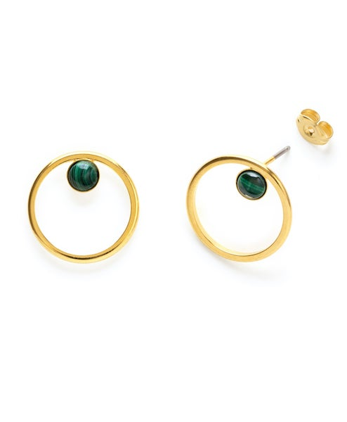 Image of Amano Malachite Orbit Stud Earrings