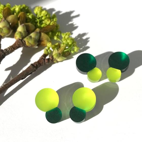 Image of Náušnice Bubbles limetka- smaragdová zelená