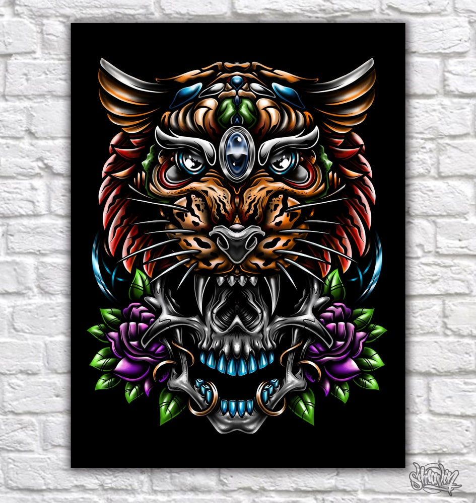 Image of Tiger Skull Color canvas print