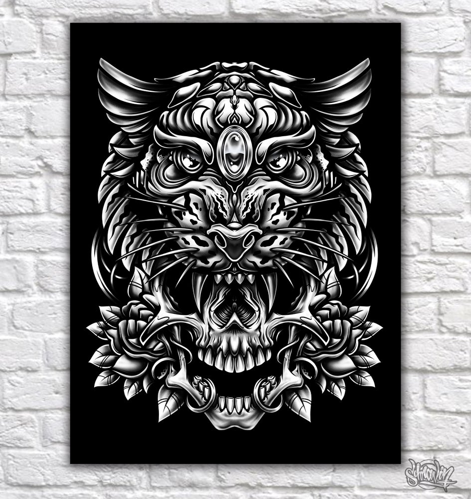 Image of Tiger Skull BNW canvas print