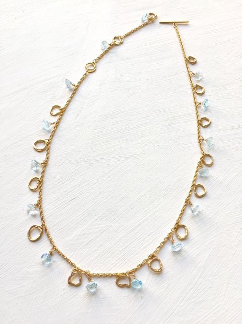 Image of Indian summer necklace yellow gold - Blue Topaz 2