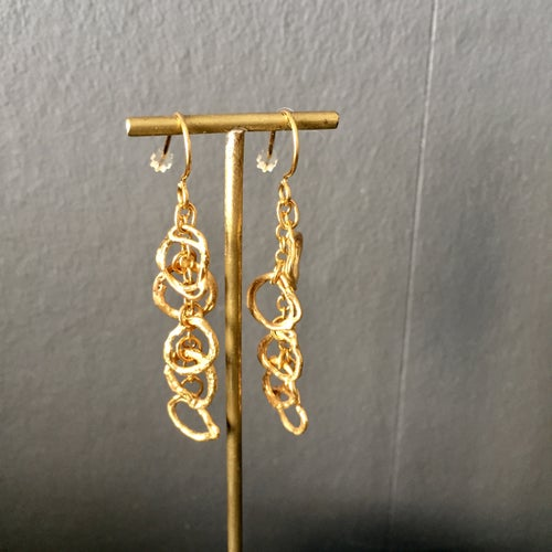 Image of Indian summer earrings long drops in yellow gold vermeil