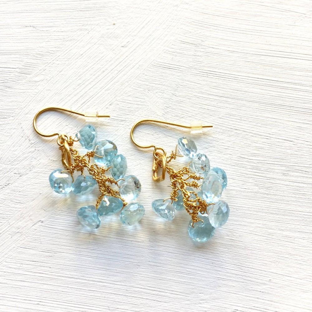 Image of Indian summer earrings drops- multiple brio blue Topaz