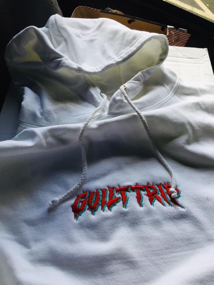 Image of 1/10 white embroidered hoodie *RAFFLE TICKET* (XL)